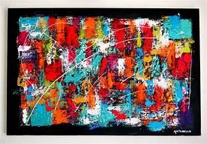 Tableau Coloré Moderne : tableau moderne abstrait color contemporain toile peinture acrylique format 40 x 60 ~ Teatrodelosmanantiales.com Idées de Décoration