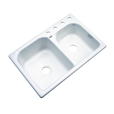 60 40 drop in kitchen sinks thermocast cambridge drop in acrylic 33 in 4 hole double