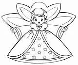 Coloring Christmas Pages Angels Retro Fairy sketch template
