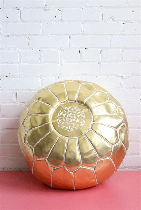 Gold Ottoman Pouf by Gold Pouf Moroccan Pouf Vegan Faux Leather Embroidered