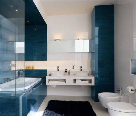 deco salle de bain bleu et marron