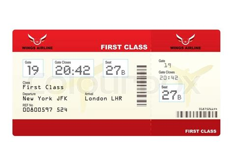 red  class plane ticket  gate number  seat