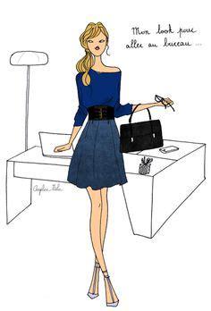 aller au bureau shopping parisien illustration dessin