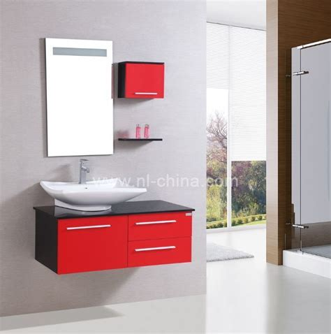 Good quality one piece vanity top designer red bathroom