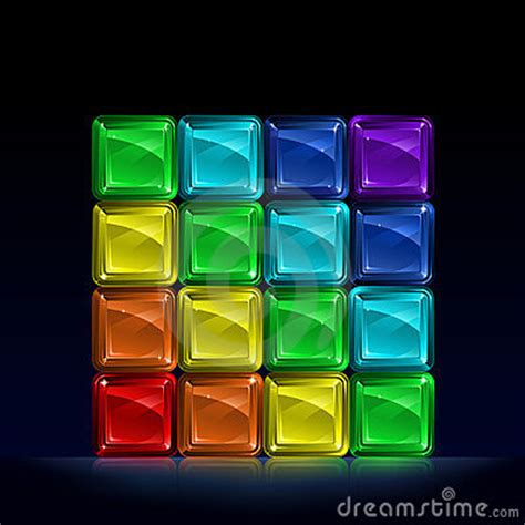 rainbow colored glass cubes royalty  stock