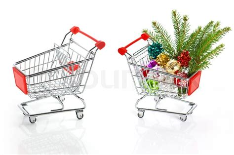 shopping cart christmas tree shopping cart empty and with christmas tree decoration 1406