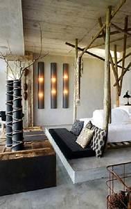 Deco Chambre Bois : d co chambre esprit r cup avec lit baldaquin en tronc de bois ~ Melissatoandfro.com Idées de Décoration