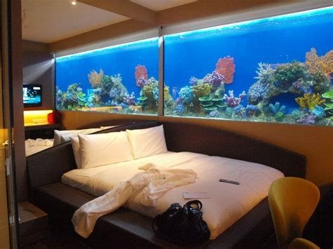 bedroom fish tank hotel room with large aquarium inside as walls in h20 10433 | 5856b3bc68c41f9b2200541015c10392