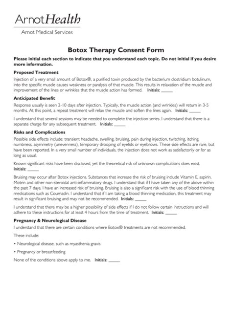 botox therapy consent form printable