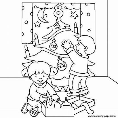 Tree Coloring Christmas Pages Decorating Printable Decorations