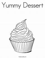 Coloring Cupcake Yummy Cupcakes Desserts Mini Template Dessert Twistynoodle Printable Books Colour Happy Uploaded sketch template
