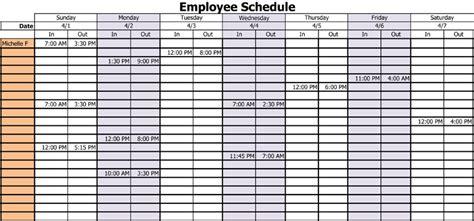 employee work schedule templates excel worksheets