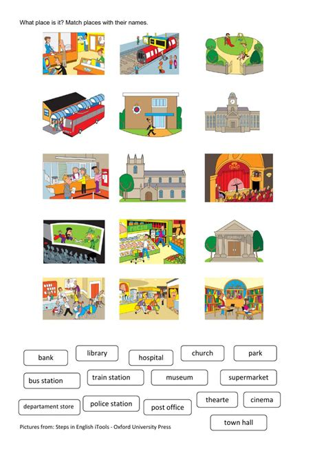 places  town interactive worksheet