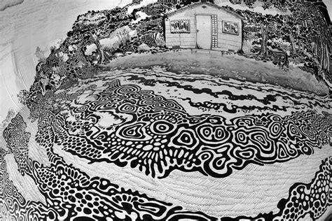 Dessin D'un Paysage Japonais à L' Intérieur D'un Dôme