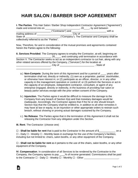 salon independent contractor agreement template