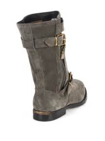 womens boots grey burberry grantville suede buckle midcalf boots in gray lyst