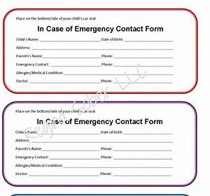 Printable Emergency Contact Form for Car Seat - Eat Travel ...