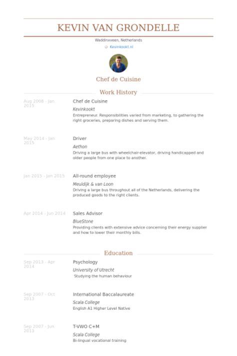 cv commis de cuisine chef de cuisine resume sles visualcv resume sles database