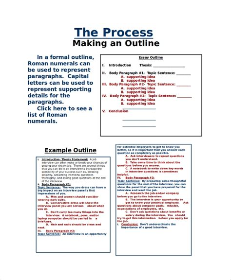 sample outline  examples   word