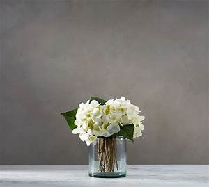 Faux White Hydrangea Arrangement in Glass Vase | Pottery Barn