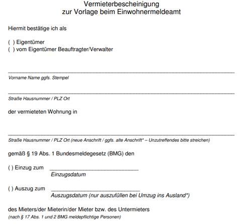 Mieter Vermieter Umzug Nur Noch Mit Bescheinigung by Vermieterbescheinigung Dokument Zum Wohnungswechsel