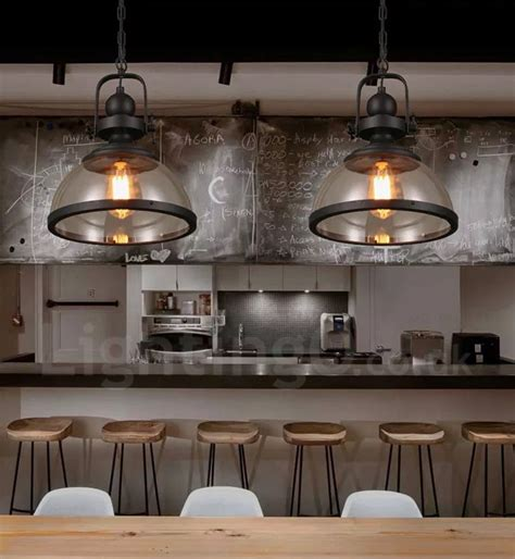 retro 1 light steel pendant light with glass shade for