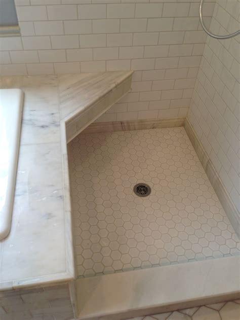 Large Marble Hexagon Floor Tile by Tiled Shower Floors Bathroom Renovations