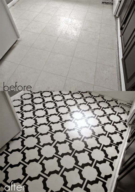 DIY painted vinyl floors before and after   Project Ideas