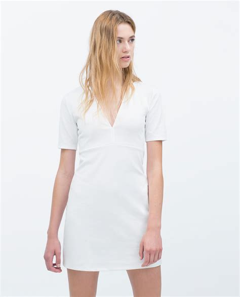 zra vneck dress zara v neck dress in white lyst