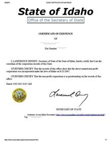 Certificate Of Good Standing by Idaho Certificate Of Good Standing Certificate Of