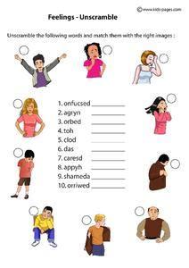 feelings unscramble worksheet  st  grade lesson