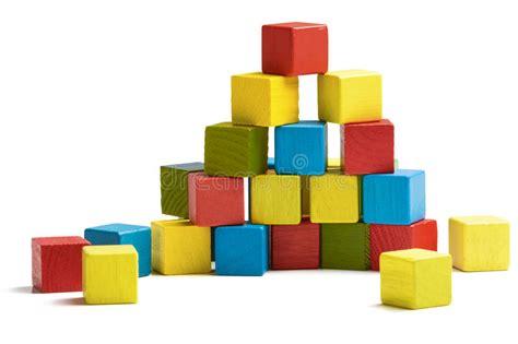 toy blocks pyramid multicolor wooden bricks stack stock