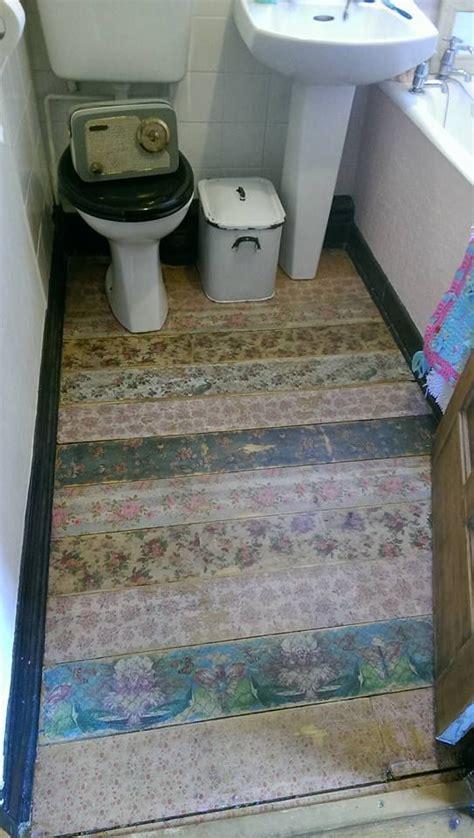 napkin decoupaged floor shabby chic   napkin