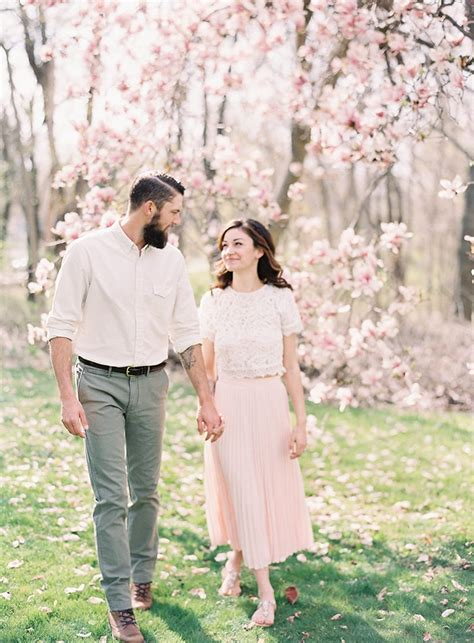 Sweet Outdoor Spring Engagement Session Once Wed