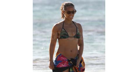 Alicia Keys wore a striped bikini top. | Alicia Keys in a ...