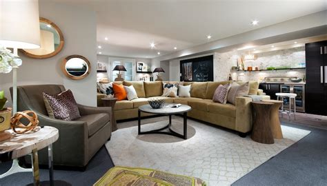 living room makeovers by candice camel colored sectional transitional basement