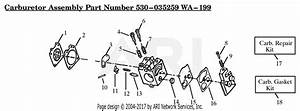 Poulan Hp30sb Gas Trimmer Parts Diagram For Carburetor Assembly  Wa199  P  N 530035259