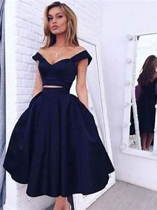Custom Made Off Shoulder Short Navy Blue Prom Dresses, Short Navy Blue jbydress