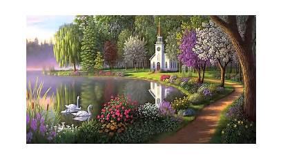 Garden Desktop Wallpapers Secret Lake Swans Backgrounds