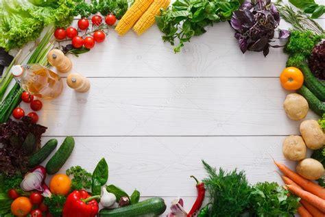 fresh vegetables frame  white wood background  copy