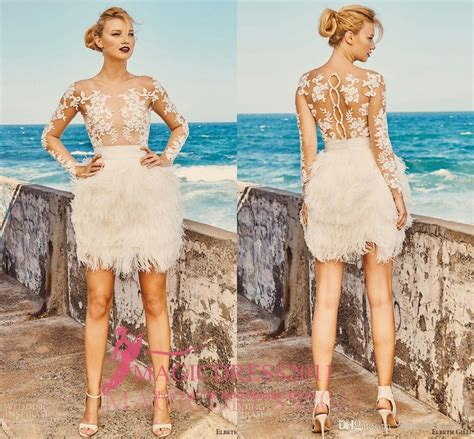 Discount Elbeth Gillis 2017 Short Mini Wedding Dresses Illusion Bodice Long Sleeve Lace Vintage