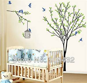 28 tree with bird cage wall bird cage amp tree for What kind of paint to use on kitchen cabinets for flying birds wall art