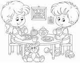 Coloring Cartoon Eating Lunch Children Breakfast Nursery Vector Transferred Vectors sketch template
