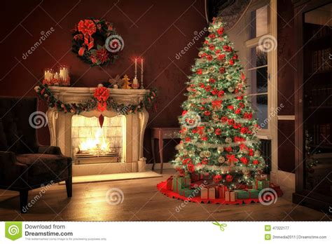 christmas scene  gifts  fire  background stock