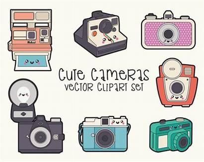 Camera Clipart Kawaii Vector Clip Premium Vectors