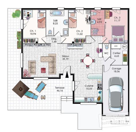 plan maison plain pied 4 chambres garage finest plan maison plan maison gratuit plan maison