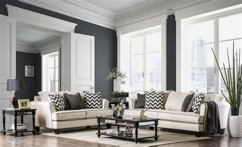 percey off white living room set from furniture of america