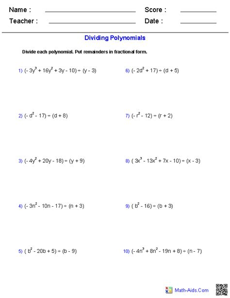 worksheets division of polynomials algebra 1 worksheets monomials and polynomials worksheets