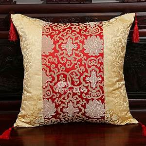 Luxury Vintage Gold And Red Floral Decorative Throw Pillows