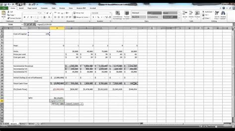 capital budgeting  excel  youtube